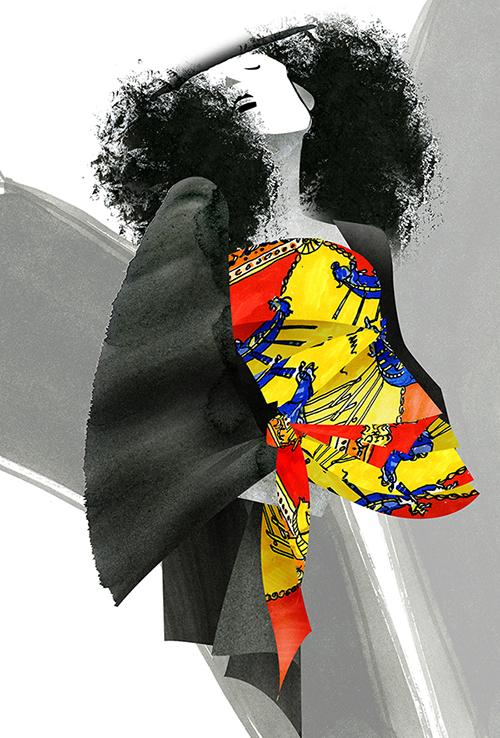 Scarf Dress Fashion Illustration