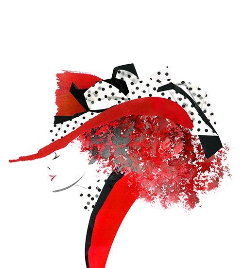 Paper Work -fashion Illustration-Red Hat