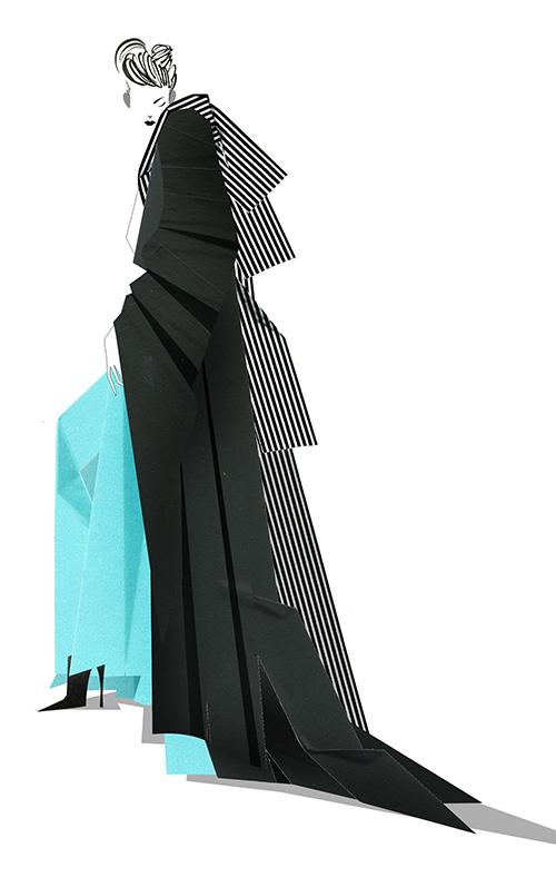Paper Work -fashion Illustration-Black Mantle