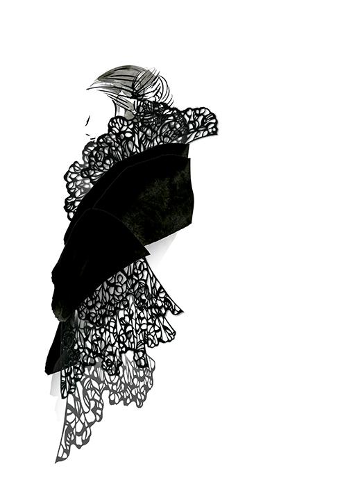 Cut The FASHION! -Black Lace Dress – Fashion Illustration-
