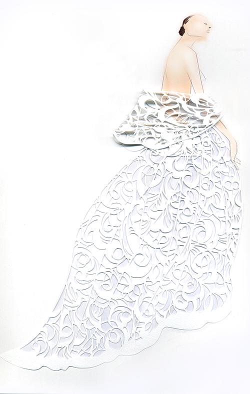 Cut The FASHION! -White Lace Dress Fashion Illustration-