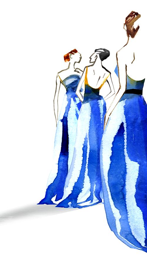 FASHION ILLUSTRATION -Blue Long Dress
