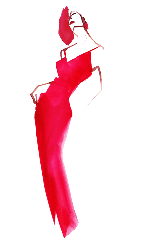 FASHION ILLUSTRATION -Red Long Dress