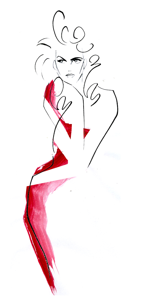 FASHION ILLUSTRATION IN BRUSH LINE! -Woman's Red Dress