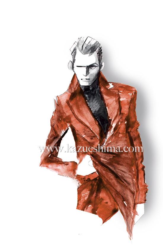 MEN'S FASHION ILLUSTRATION -Men's Leather Coat