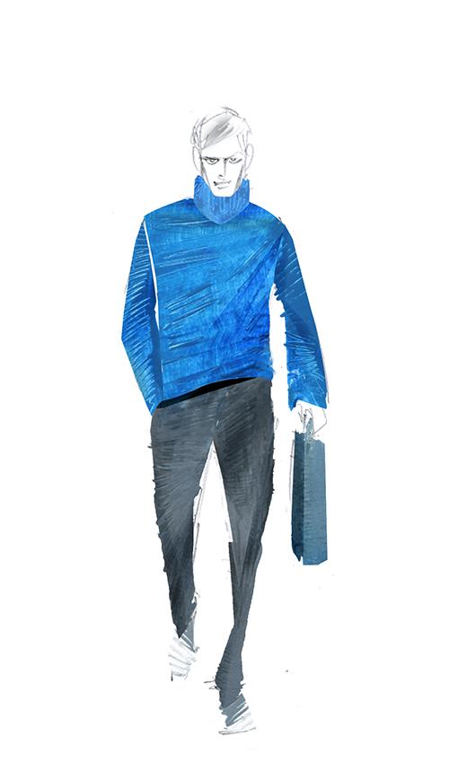MEN'S FASHION ILLUSTRATION IN PAPER LINE! -Mens Sweater