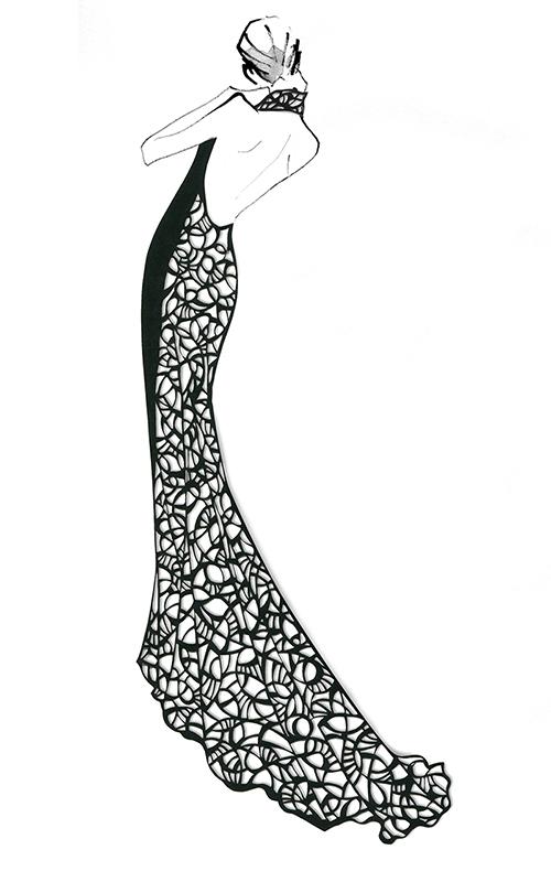 FASHION ILLUSTRATION – Cut The Paper, Long Lace Dress
