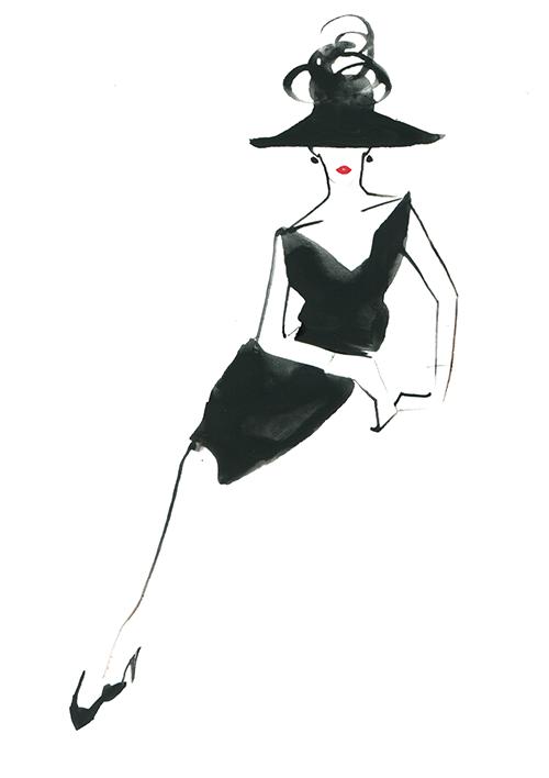 FASHION ILLUSTRATION -black Hat