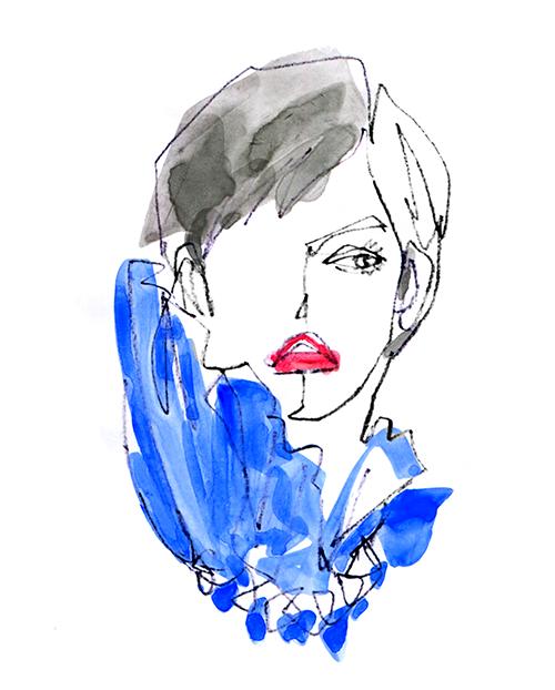FASHION ILLUSTRATION -one Stroke, Blue Dress