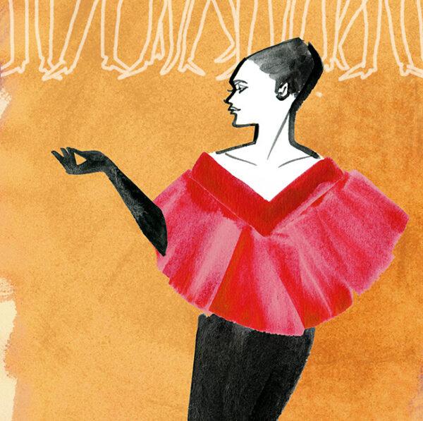 FASHION ILLUSTRATION -red Cape Dress