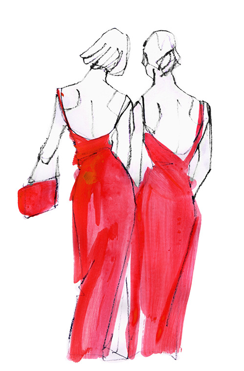 FASHION ILLUSTRATION -one Stroke Drawing, Long Dress