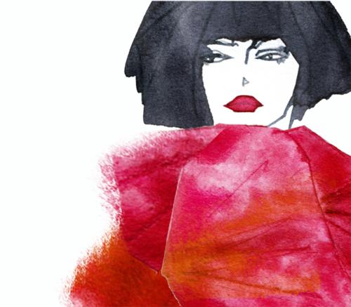 FASHION ILLUSTRATION Portrait-red Dress