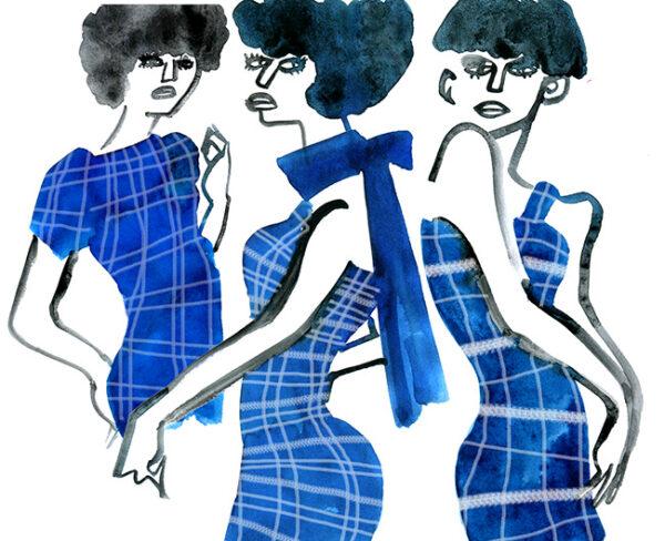 FASHION ILLUSTRATION Water Color-blue Plaid Short Dress