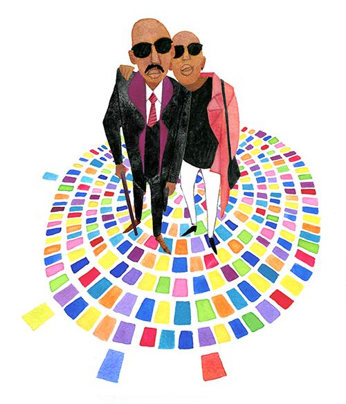 MEN'S FASHION ILLUSTRATION Water Color-black Sunglasses