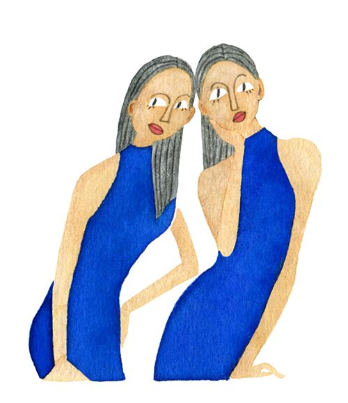 FASHION ILLUSTRATION Portrait-blue Dress