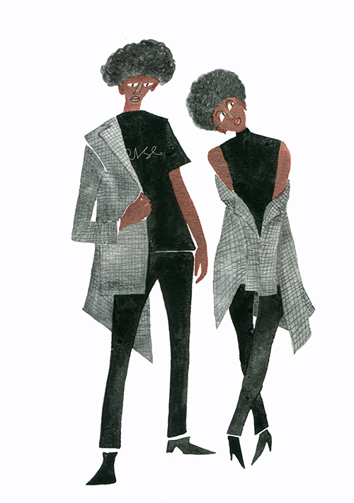 FASHION ILLUSTRATION Water Color-plaid And Gray Jacket