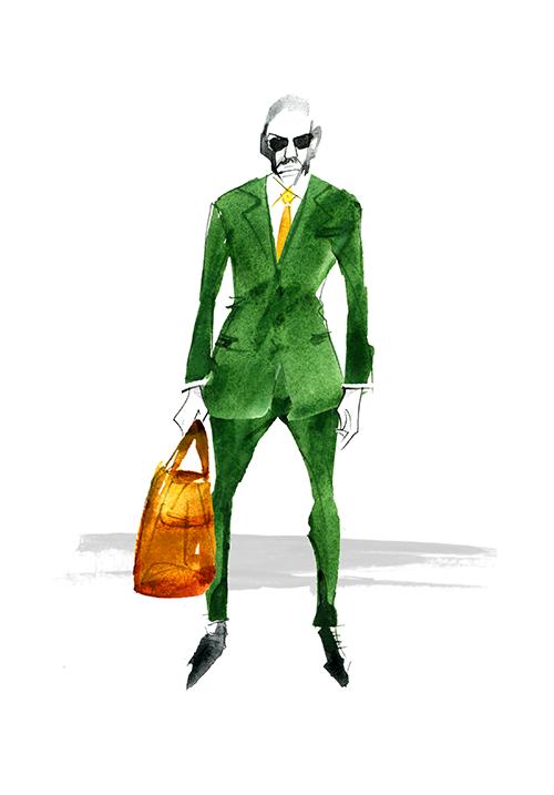 MEN'S FASHION ILLUSTRATION -dark Green Suits