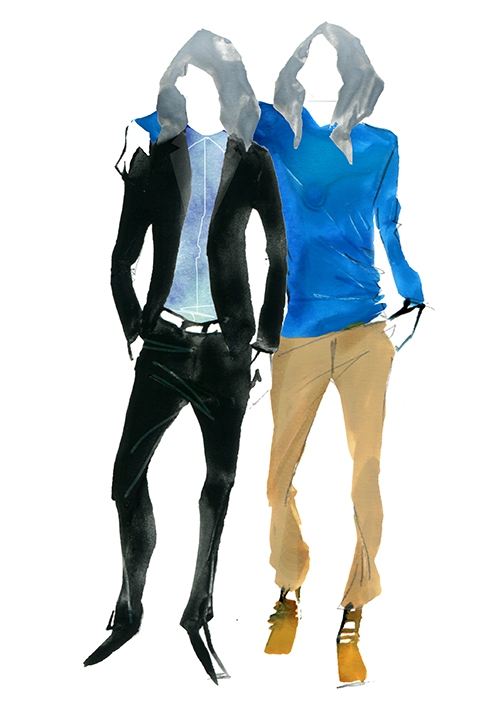 MEN'S FASHION ILLUSTRATION -blue Gray