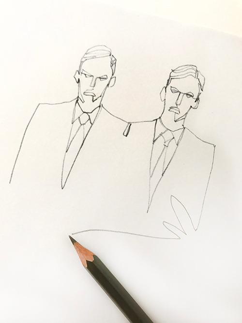 MEN'S FASHION ILLUSTRATION -one Stroke, Men's Suits