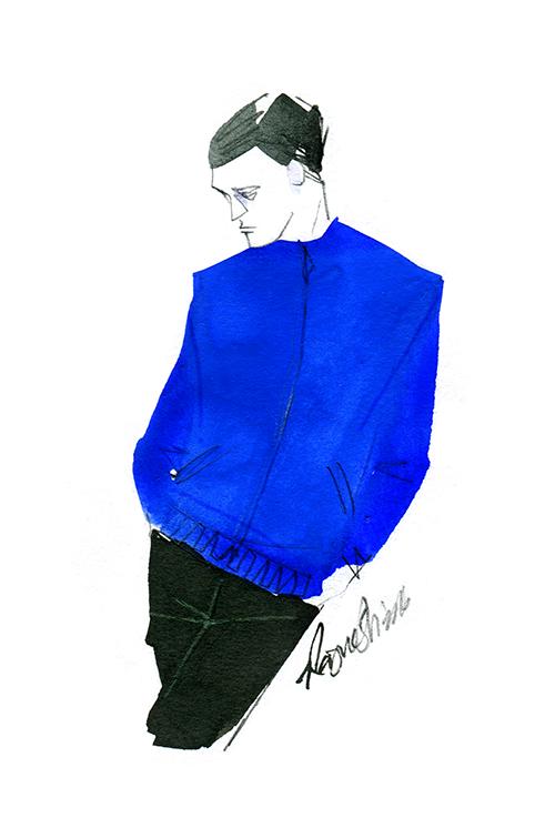 MEN'S FASHION ILLUSTRATION -blue Blouson