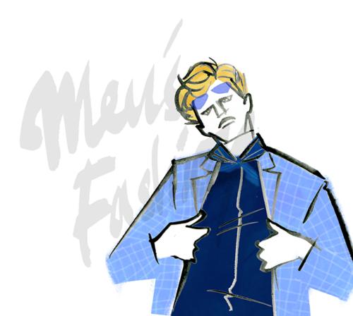 MEN'S FASHION ILLUSTRATION -plaid Jacket