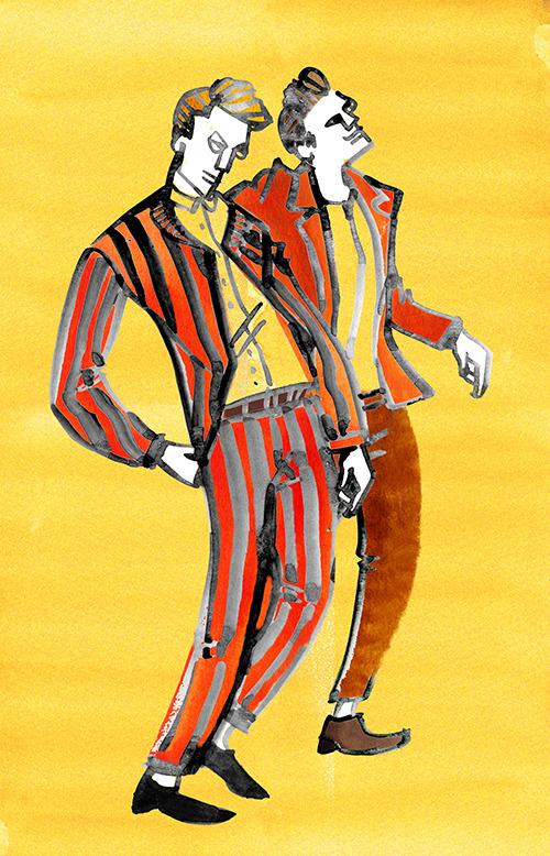 MEN'S FASHION ILLUSTRATION -stripe Suit