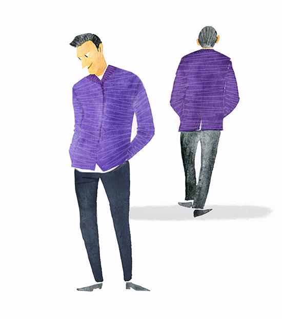 MEN'S FASHION ILLUSTRATION -water Color Purple Blouson
