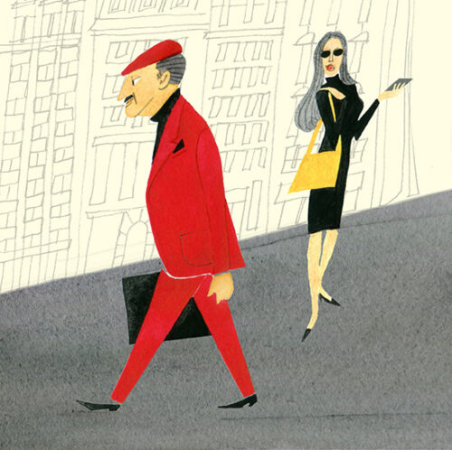 MEN'S FASHION ILLUSTRATION Water Color-red Suits