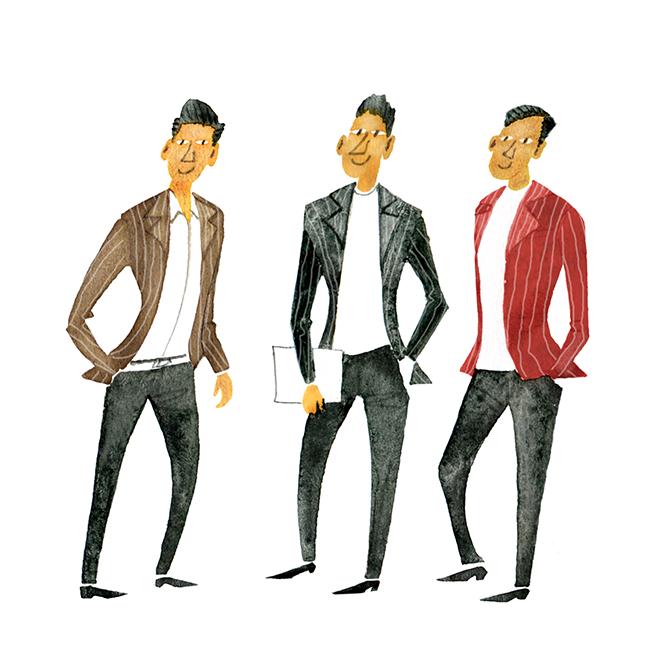 MEN'S FASHION ILLUSTRATION Portrait-stripes Jackets