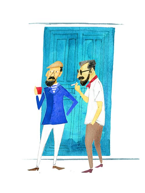 Men's Drawing -blue Door In Summer