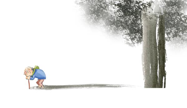 Illustration-Grandpa With Big Tree