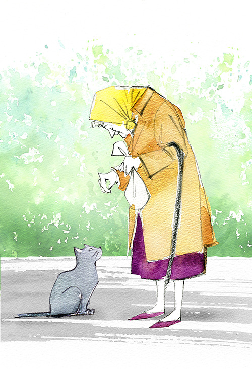 Illustration Of Cat And Old Woman