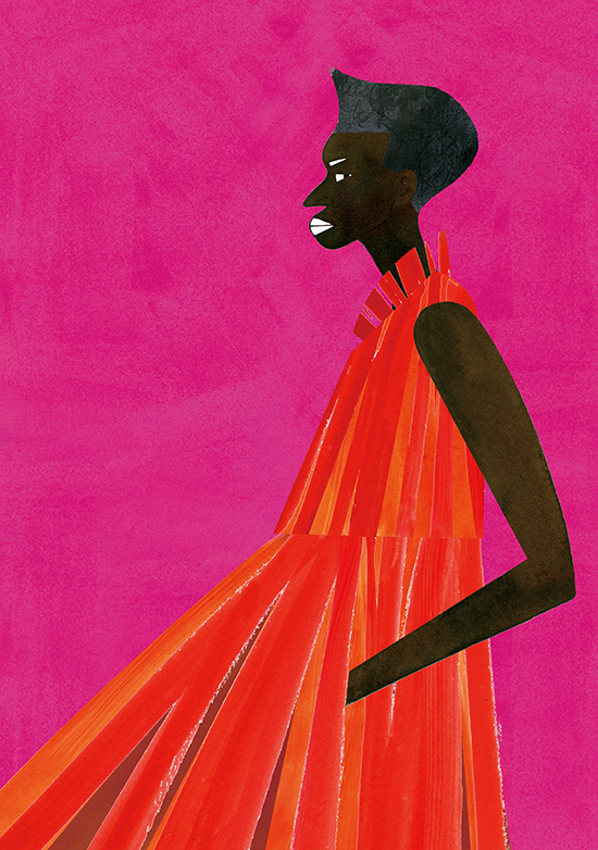 Fashion Illustration Portrait Of Red Dress