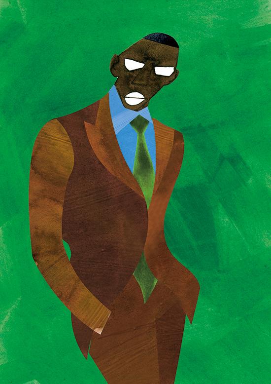 Fashion Illustration Portrait Men's Brown Suits