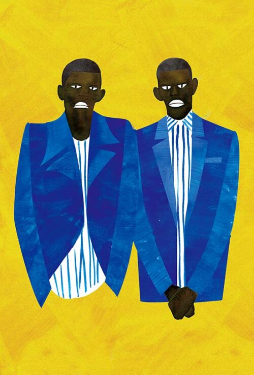 Men's Blue Jacket Drawing With Black Model
