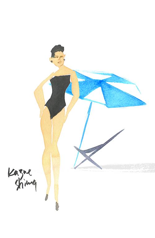 Fashion Illustration Portrait Of Swim Suits